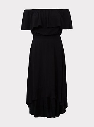 Black Challis Off Shoulder & Ruffle Skirt 2-Piece Set, DEEP BLACK, flat