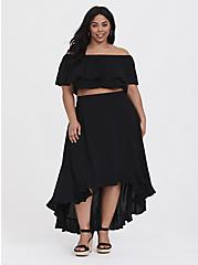 Plus Size Black Challis Off Shoulder & Ruffle Skirt 2-Piece Set, DEEP BLACK, hi-res
