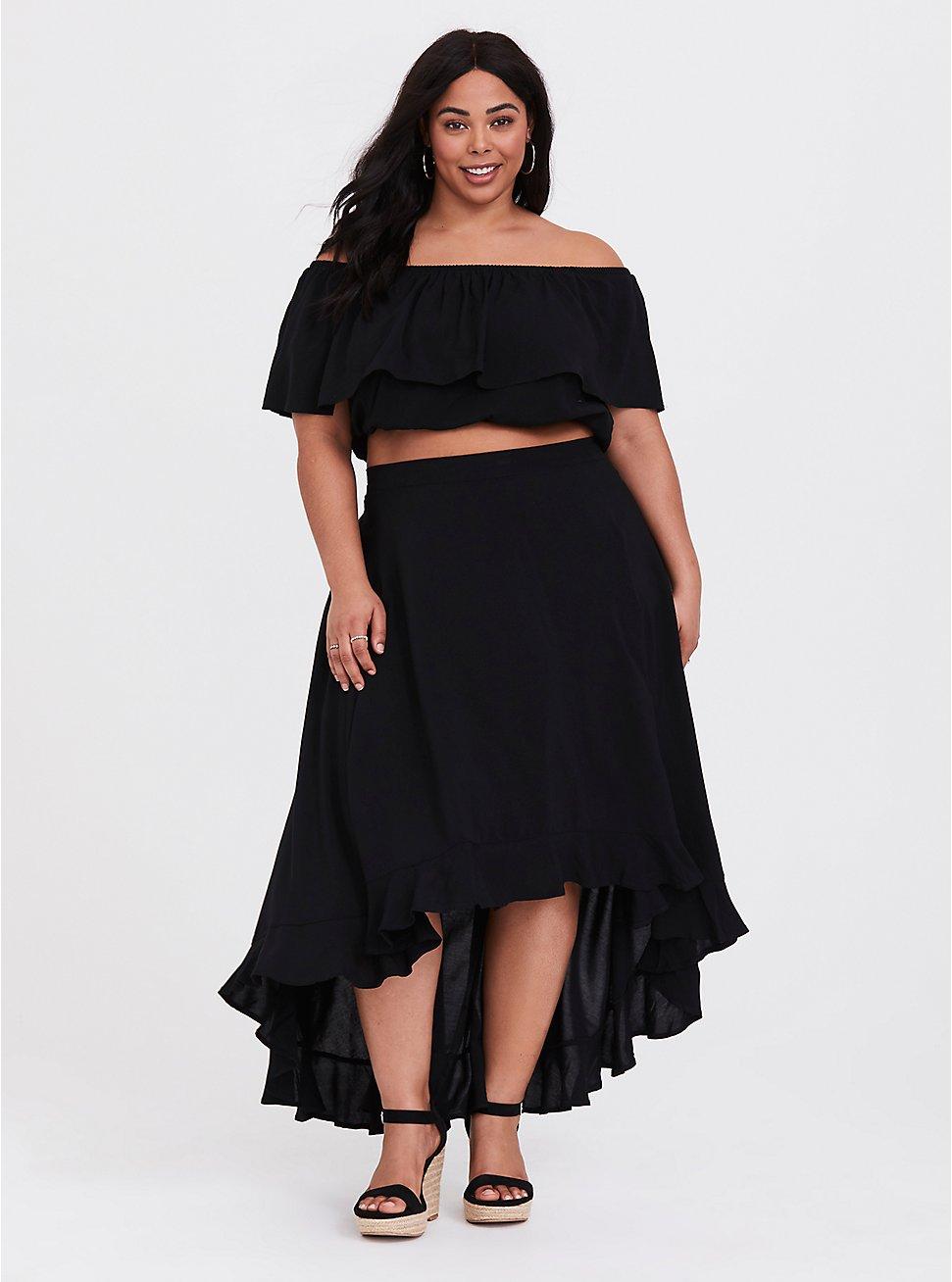Black Challis Off Shoulder & Ruffle Skirt 2-Piece Set
