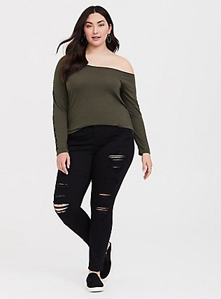 Plus Size More Love Olive Green Off Shoulder Tee, DEEP DEPTHS, alternate