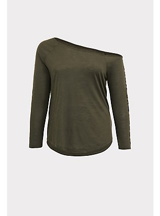 Plus Size More Love Olive Green Off Shoulder Tee, DEEP DEPTHS, flat