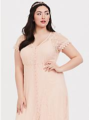Light Peach Lace Button Front Maxi Dress , PALE BLUSH, alternate