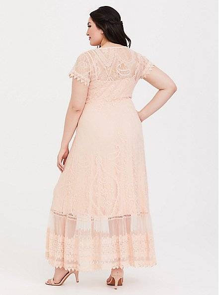 Plus Size Blush Lace Embroidered Maxi Shirt Dress, PALE BLUSH, alternate