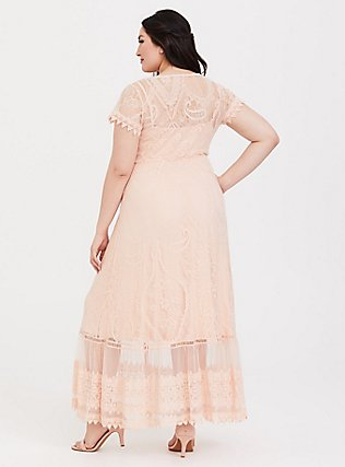 Blush Lace Embroidered Maxi Shirt Dress, PALE BLUSH, alternate