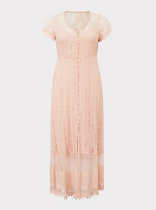 Blush Lace Embroidered Maxi Shirt Dress, PALE BLUSH, flat