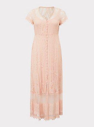 Light Peach Lace Button Front Maxi Dress , PALE BLUSH, flat