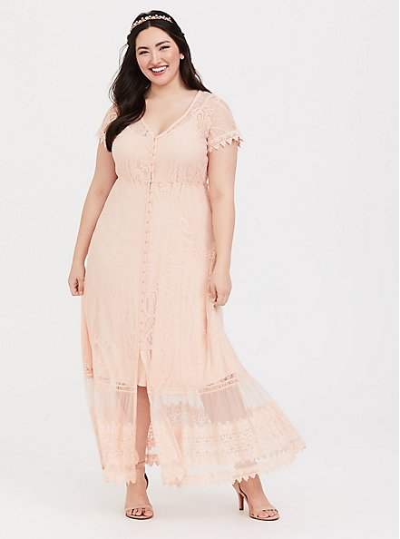 Plus Size Blush Lace Embroidered Maxi Shirt Dress, PALE BLUSH, hi-res