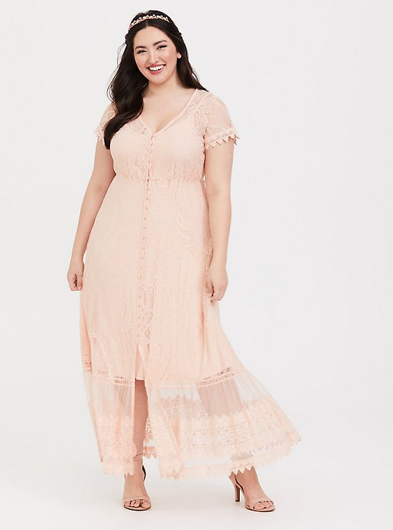 Plus Size Peach Pink Lace Button Front Maxi Dress , , hi-res