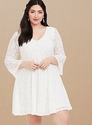 Plus Size Ivory Lace Bell Sleeve Trapeze Dress, CLOUD DANCER, alternate