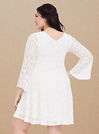 Ivory Lace Bell Sleeve Trapeze Dress, CLOUD DANCER, alternate