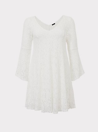 Plus Size Ivory Lace Bell Sleeve Trapeze Dress, CLOUD DANCER, flat