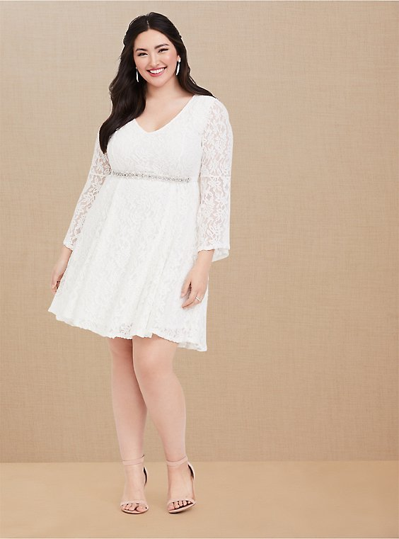 Ivory Lace Bell Sleeve Fluted Mini Dress, , hi-res