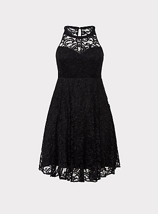 Plus Size Special Occasion Black Lace Halter Skater Dress, DEEP BLACK, flat