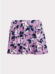 Lavender Purple Floral High Waist Skater Swim Skirt, MULTI, hi-res
