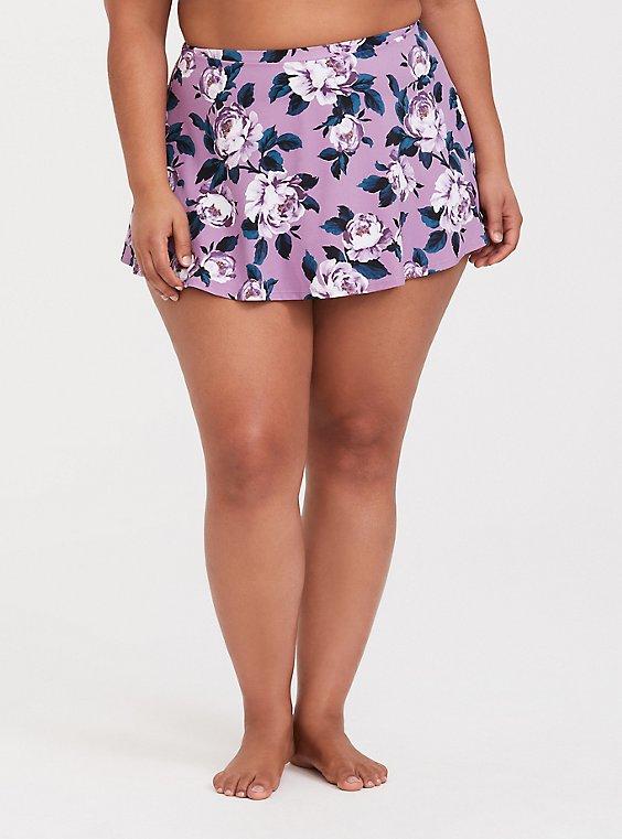 Plus Size Lavender Purple Floral High Waist Skater Swim Skirt, , hi-res