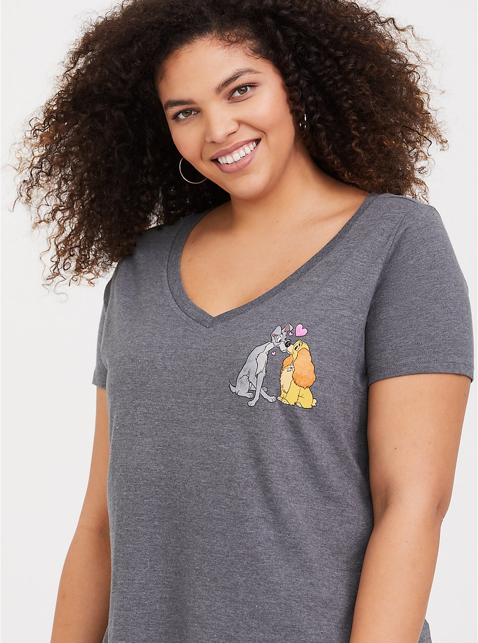 Disney Lady & the Tramp Grey Slim Fit Top, MEDIUM HEATHER GREY, hi-res