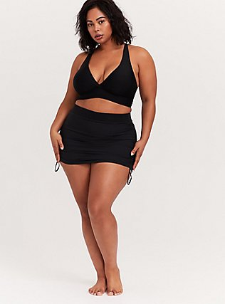 Plus Size Black Drawstring Hem Board Skirt, DEEP BLACK, alternate