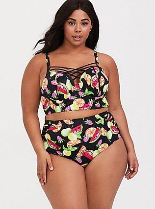 Black & Multi Fruit Lattice Push-Up Balconette Bikini Top, MULTI, hi-res