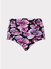 Pink & Purple Floral High Waist Ruched Swim Bottom, MULTI, hi-res