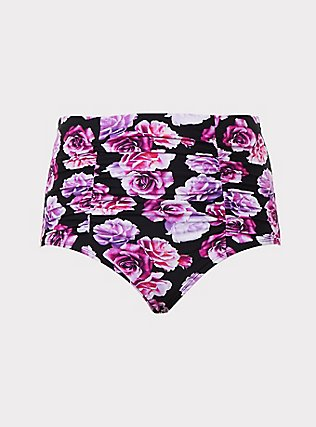 Plus Size Pink & Purple Floral High Waist Ruched Swim Bottom, MULTI, flat