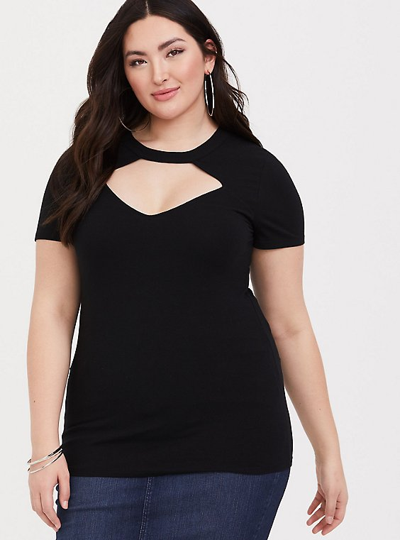 Plus Size Black Choker Neck Foxy Tee, , hi-res