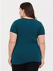Teal Strappy Scoop Neck Foxy Tee, DEEP TEAL, alternate