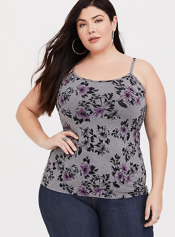 Grey Floral Scoop Neck Foxy Cami, , hi-res
