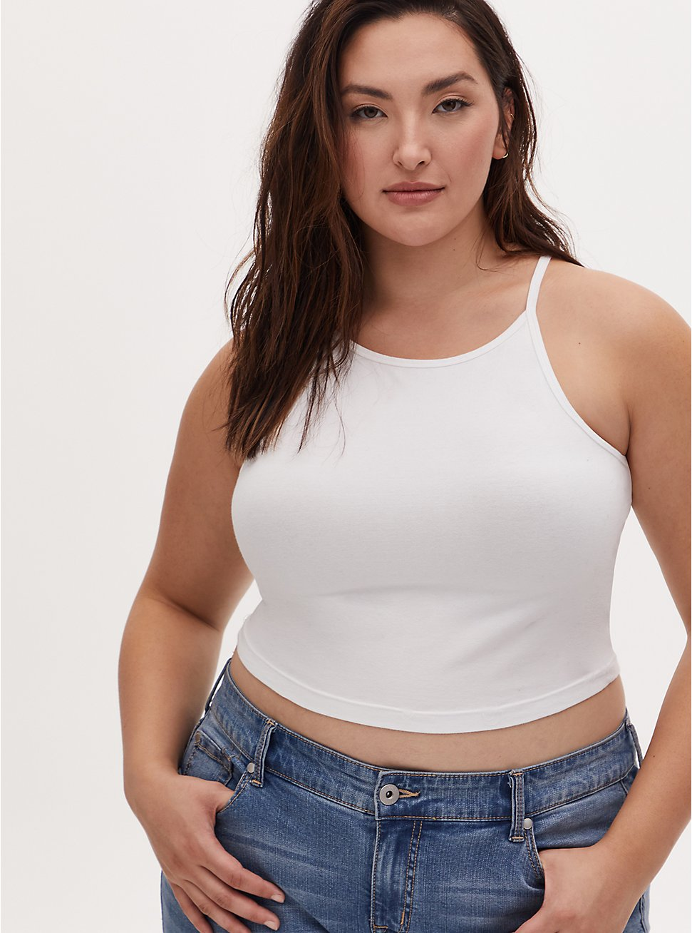 White High Neck Crop Foxy Cami, BRIGHT WHITE, hi-res