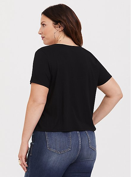 Plus Size Crop Classic Fit V-Neck Tee - Heritage Cotton Black, DEEP BLACK, alternate
