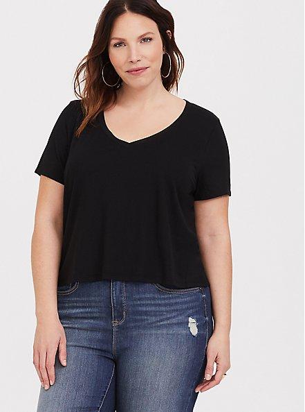 Plus Size Crop Classic Fit V-Neck Tee - Heritage Cotton Black, DEEP BLACK, hi-res