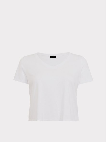 Plus Size Crop Classic Fit V-Neck Tee - Heritage Cotton White, BRIGHT WHITE, hi-res