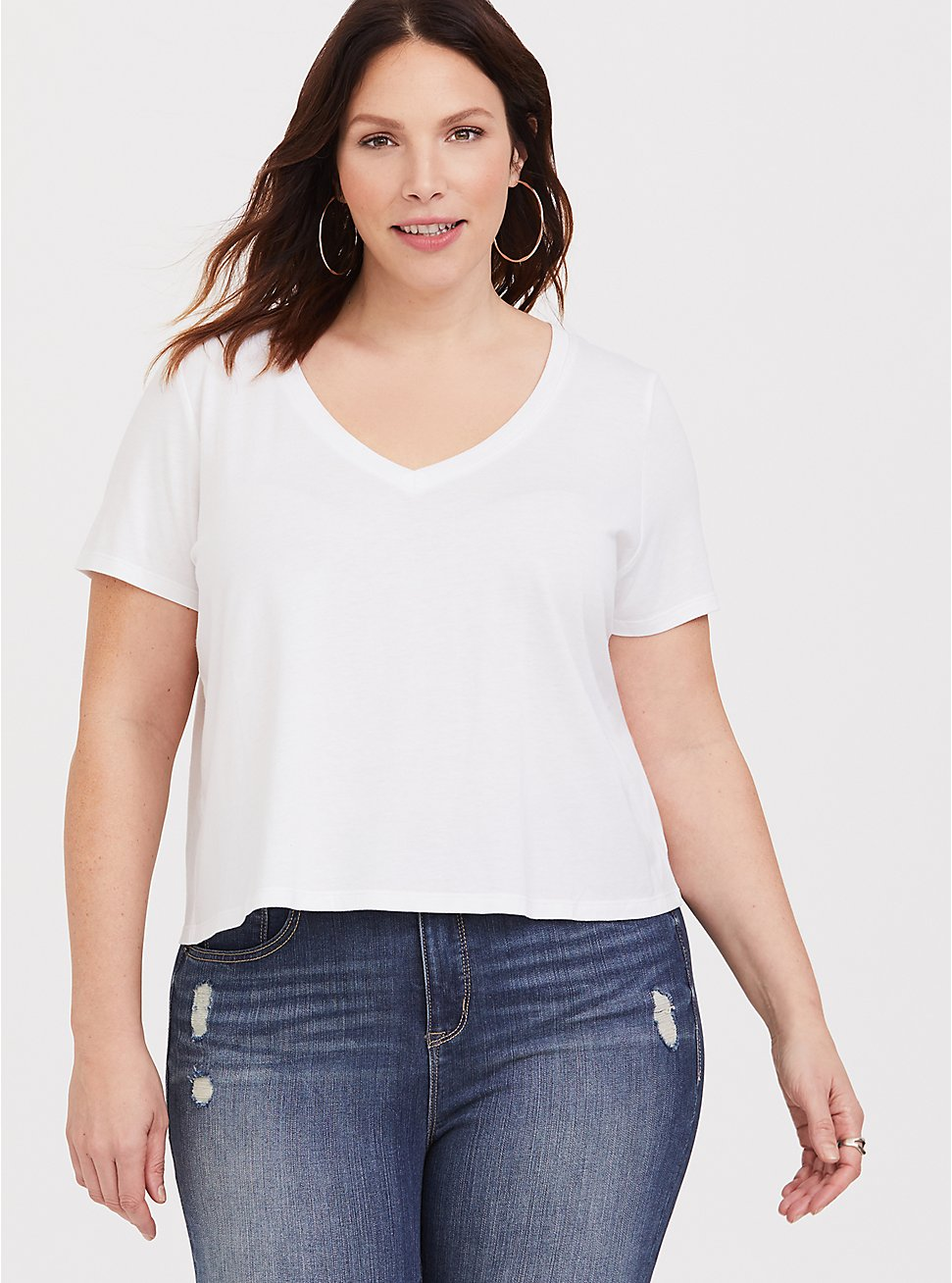 Crop Classic Fit V-Neck Tee - Heritage Cotton White, BRIGHT WHITE, hi-res