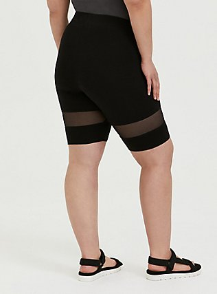 Black Mesh Inset Bike Short, BLACK, alternate