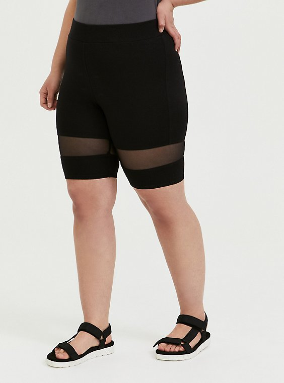Plus Size Black Mesh Inset Bike Short, , hi-res