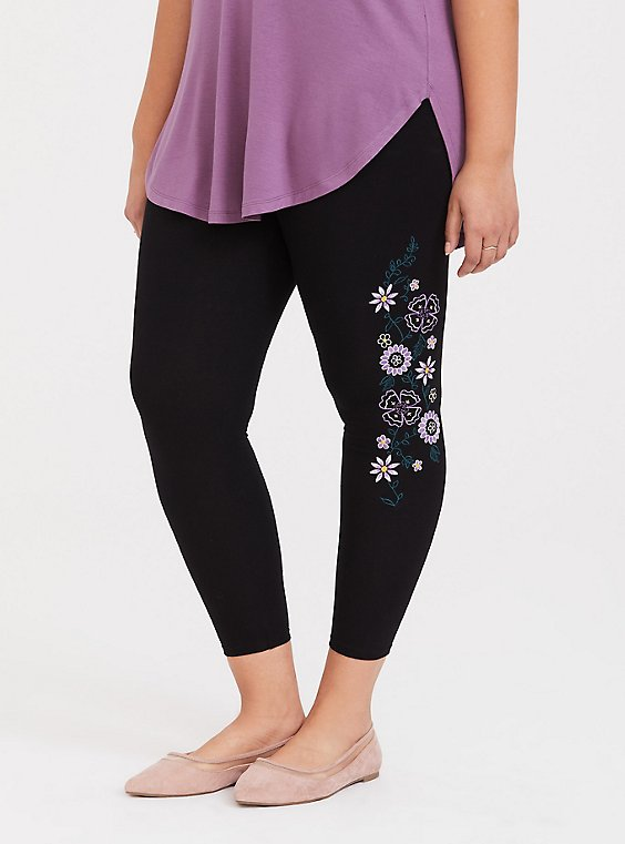 Crop Premium Legging - Embroidered Sides Black, , hi-res