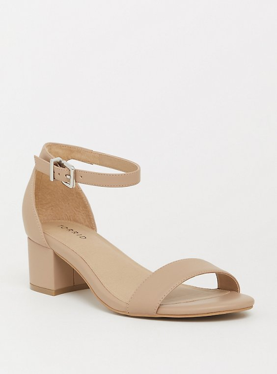 Plus Size Beige Faux Leather Low Block Heel Sandal (WW), , hi-res