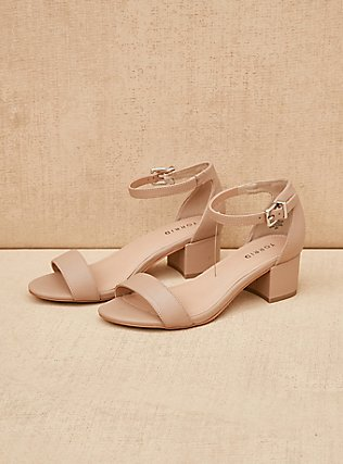 Nude Faux Leather Low Block Heel Sandal (WW), NUDE, pdped