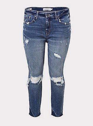 High Rise Straight Jean - Medium Wash, BLUE CHILL, flat