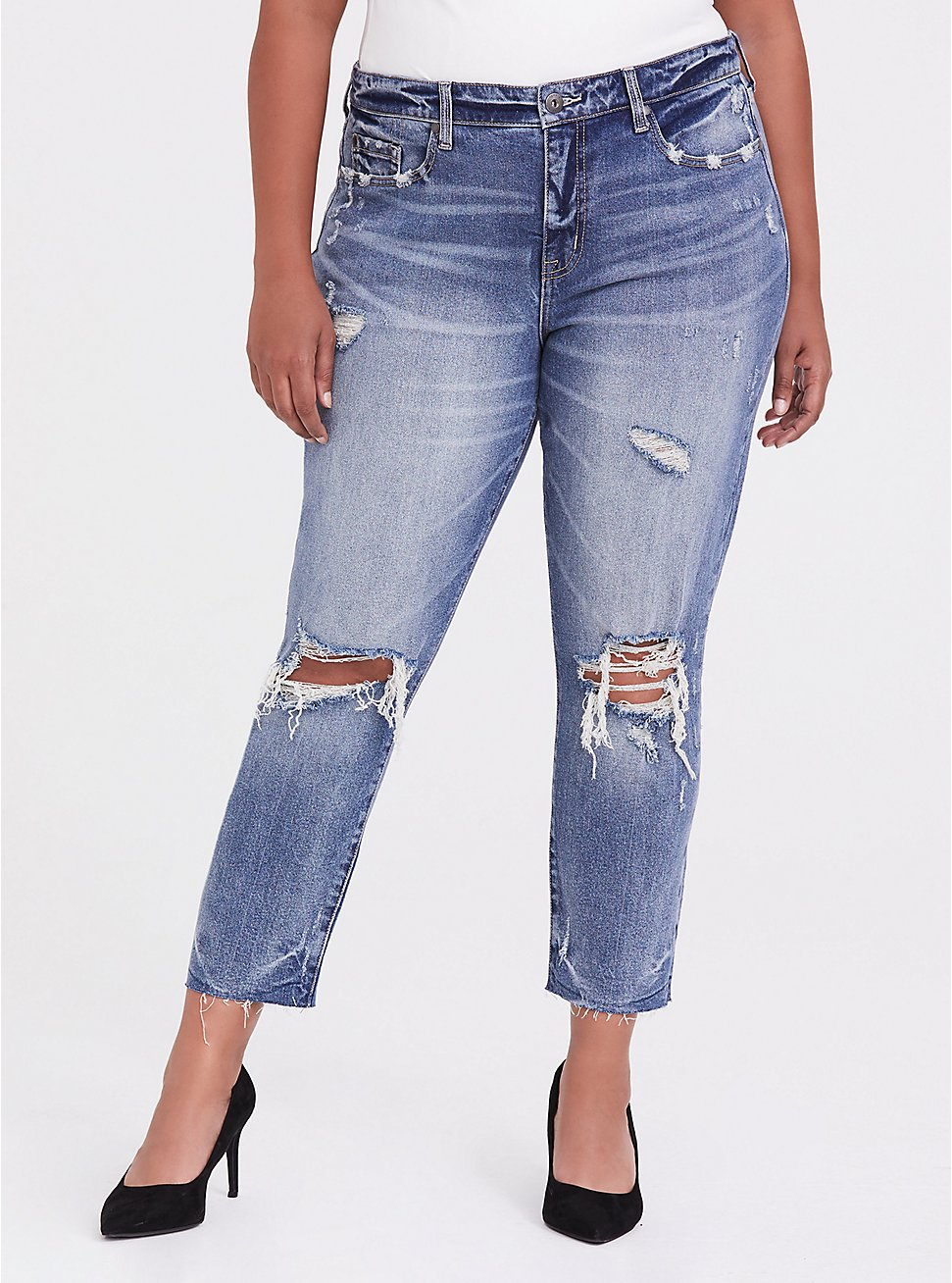 High Rise Straight Jean - Medium Wash, BLUE CHILL, hi-res