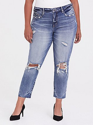 High Rise Straight Jean - Vintage Stretch Medium Wash, BLUE CHILL, hi-res