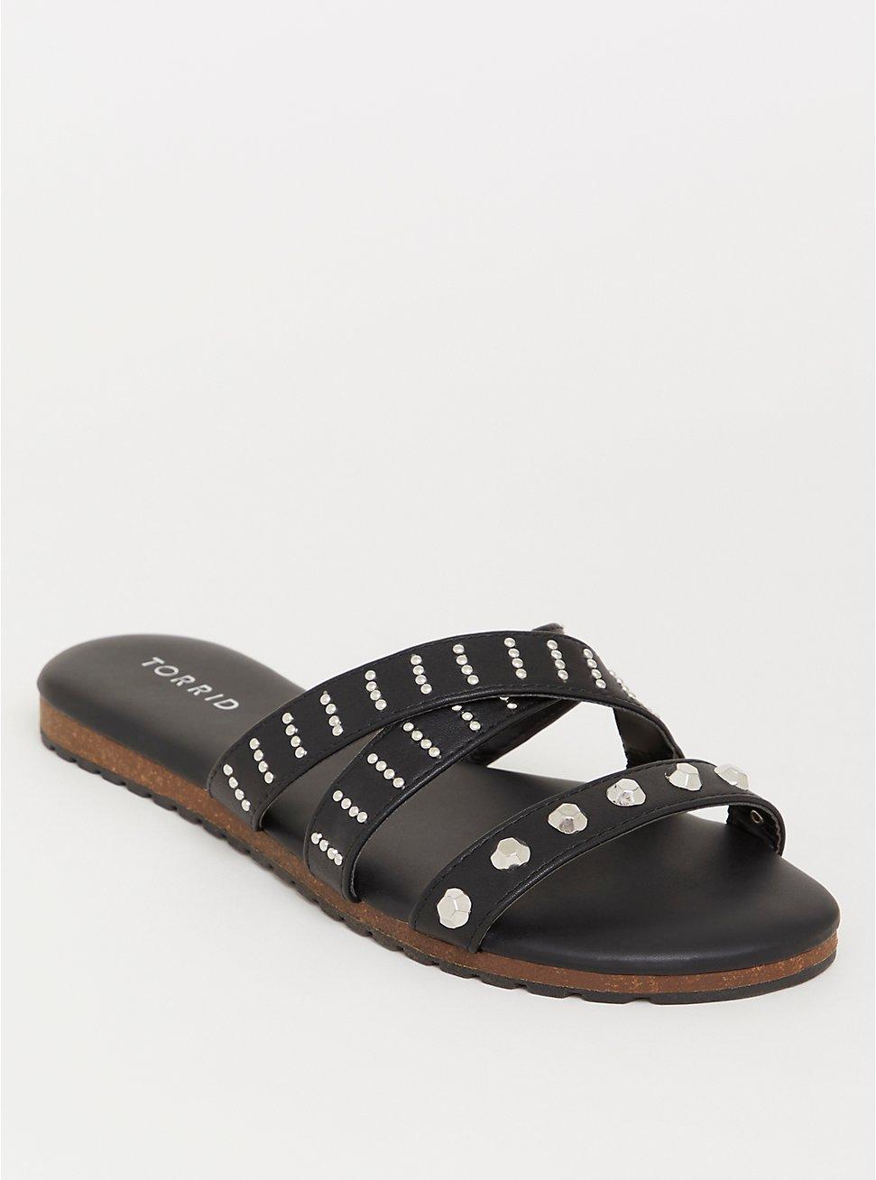 Plus Size Black Studded Strappy Sandal (WW), BLACK, hi-res