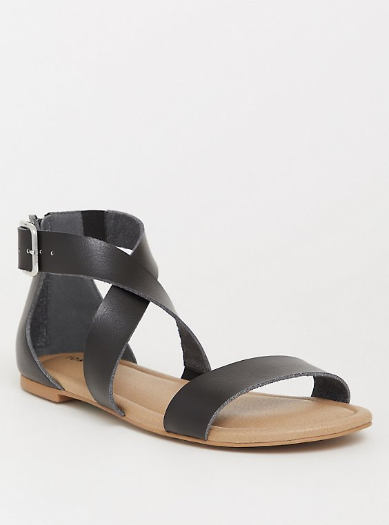 Black Crisscross Gladiator Sandal (WW), , hi-res