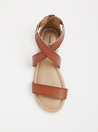 Brown Crisscross Gladiator Sandal (WW), COGNAC, alternate
