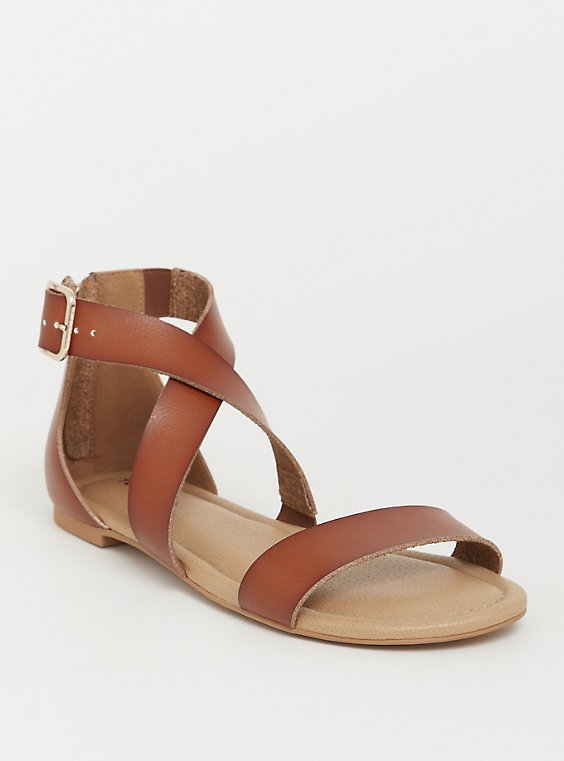 Plus Size Brown Crisscross Gladiator Sandal (WW), , hi-res