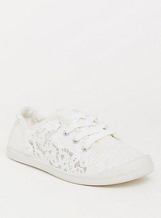 Ivory Crochet Scrunch Sneaker (WW), IVORY, hi-res