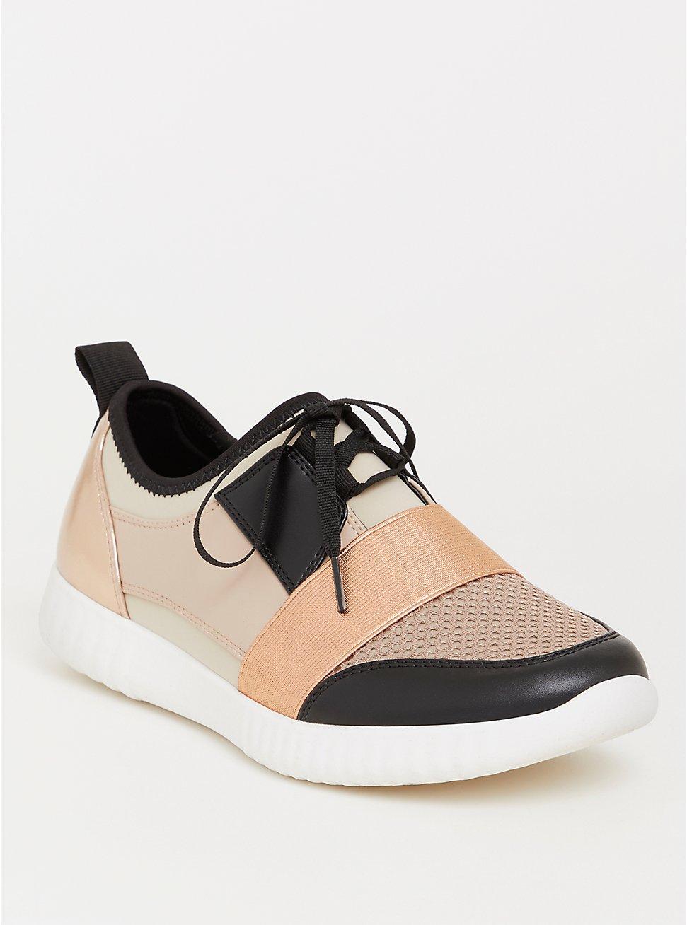 Plus Size Blush Faux Leather Metallic Sneaker (WW), BLUSH, hi-res
