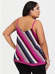 Sophie - Raspberry Pink & Multi Stripe Chiffon Swing Cami, MULTI, alternate
