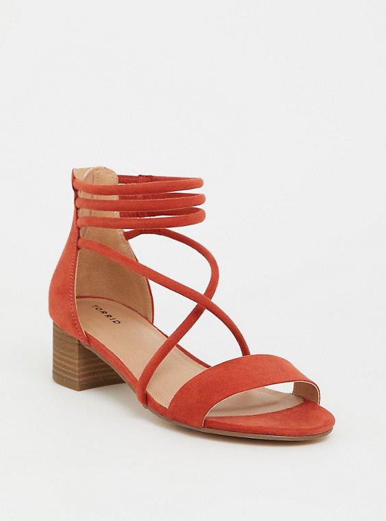 Rust Orange Faux Suede Strappy Heel (WW), , hi-res