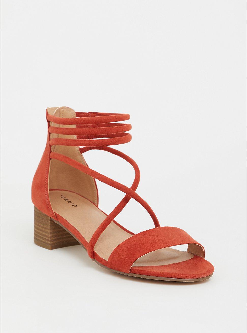 Rust Orange Faux Suede Strappy Heel (WW), ORANGE, hi-res