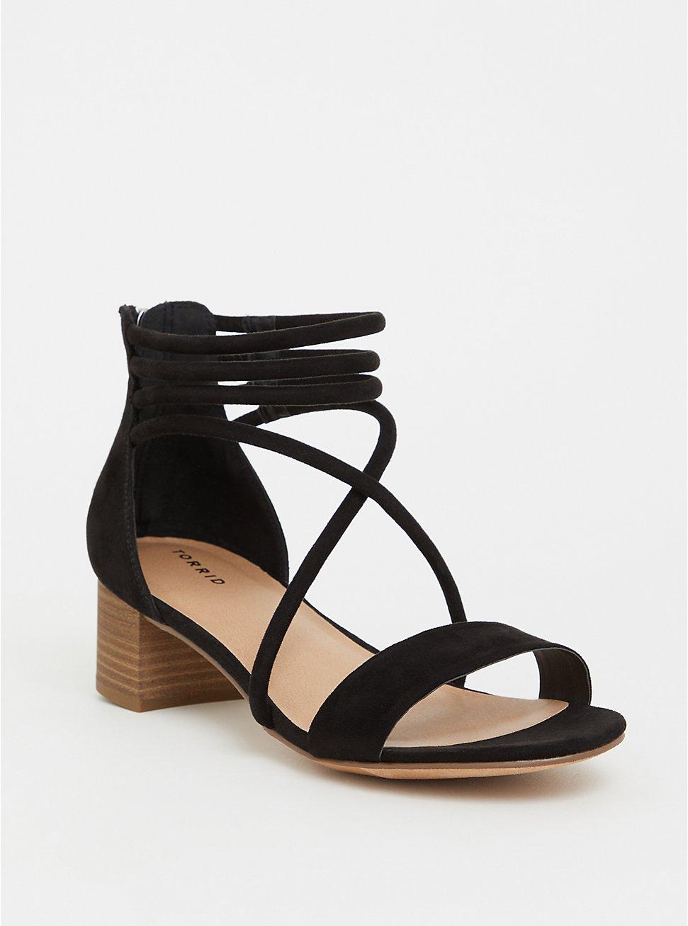 Black Faux Suede Strappy Heel Sandal (WW), BLACK, hi-res